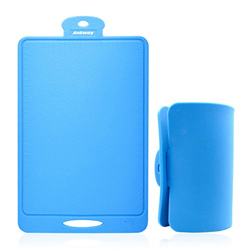 Ankway Silicone Cutting Board, Flexible Nonslip Antimicrobial Thick Heat Resistant Chopping Board (Blue) (Heat Board)