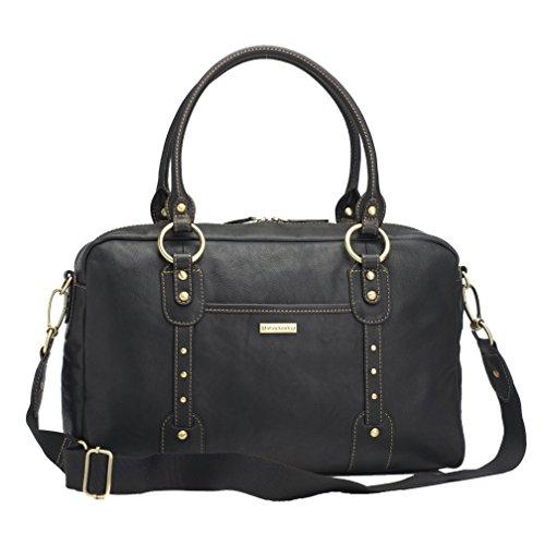 Storksak Elizabeth Leather Diaper Bag - Black