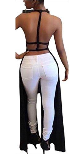 Jaycargogo Des Femmes De Dos Nu Dos Nu Haute Fractionnement Tops Tunique De Maxi Robe Noir