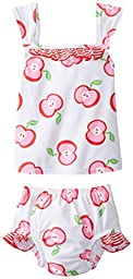 i play. Baby Girls\' Tankini Set with Built-In Swim Diaper, White, 24 Months