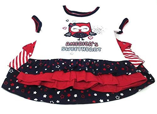 Infant and Toddler Patriotic (Red, White, and Blue) Welcome Home Outfits (3/6 Months, Skirt-Panties/America's Sweetheart Shirt)