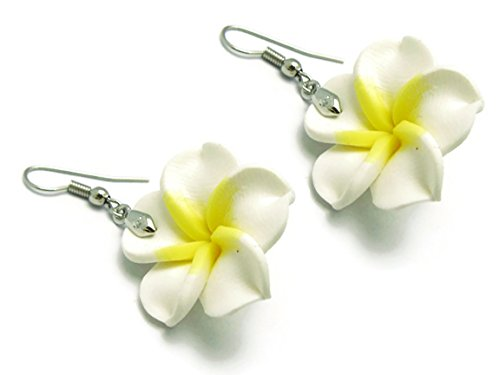 [CHADADA Jewelry Hawaiian Fimo Plumeria Flower Dangle Earrings Handmade, 25 mm (White), EH27] (Homemade Wolf Costumes For Kids)