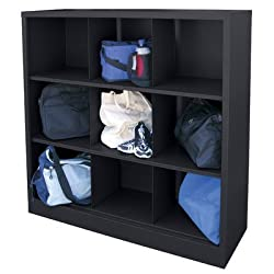 """Sandusky Lee Ic00461852-09 Heavy Duty Welded All Steel Cubby Storage Cabinet With 9 Sections, 46"""" Length X 18"""" Width X 52"""" Height, Black"""