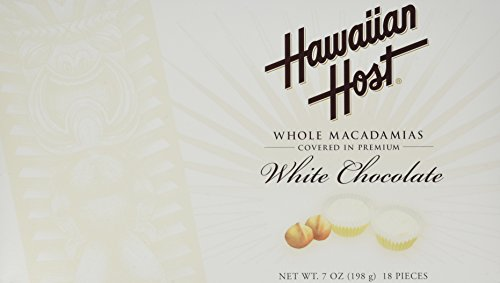 Hawaiian Host WHOLE MACADAMIAS COVERED IN PREMIUM WHITE CHOCOLATE BOX NET WT 7 OZ (198 g)