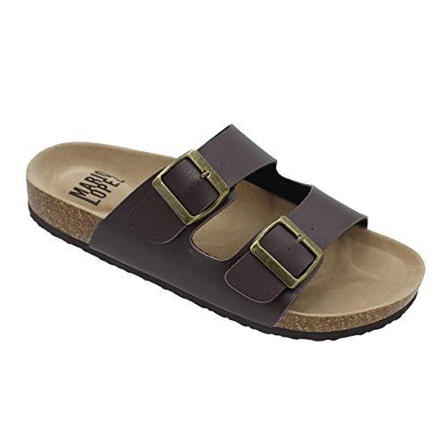 Alexis Bendel Lloyd-05 Men Double Buckle Straps Sandals Flip Flop Platform Footbed Sandals Brown 9