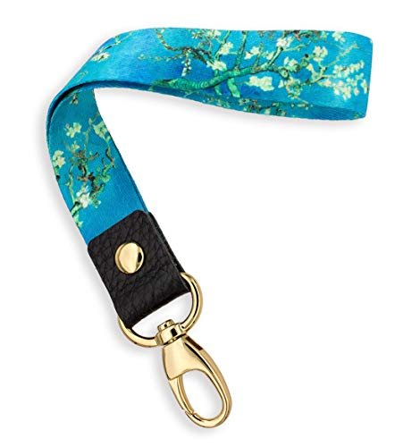 (SENLLY Van Gogh Almond Hand Wrist Lanyard Premium Quality Wristlet Strap with Metal Clasp and Genuine Leather, for Key Chain, Camera, Cell Mobile Phone, Charms, Lightweight Items etc )