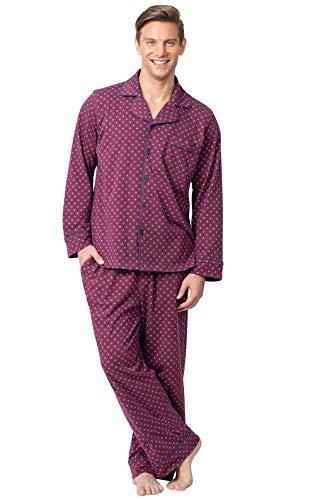 PajamaGram Mens Pajamas Set Cotton - Pajamas Men, Button Front, Burgundy, LG