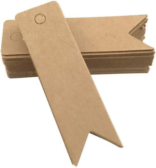 DaoRier 100pcs Kraftpapier Etiketten Anh/ängeetiketten Geschenkanh/änger H/ängeetiketten Papieranh/änger