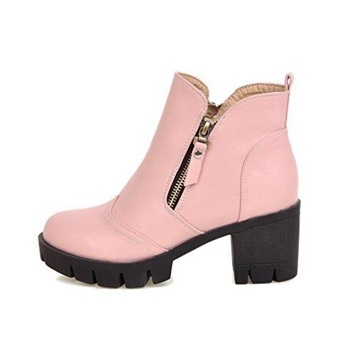 VogueZone009 Damen Quadratisch Zehe Mittler Absatz PU Stiefel, Pink, 42