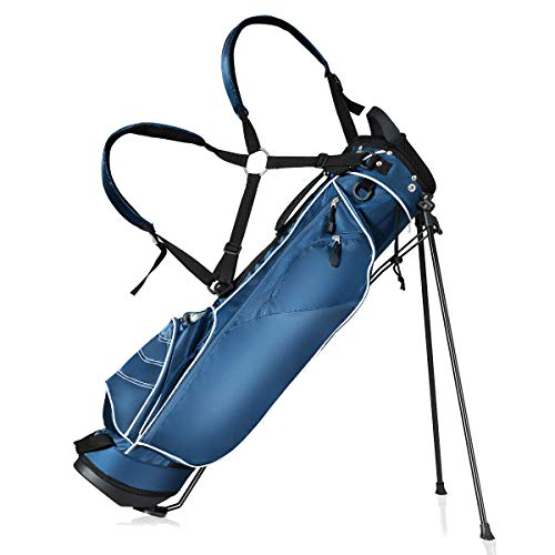 Tangkula Golf Stand Bag Lightweight Organized Golf Bag Easy Carry Shoulder Bag with 3 Way Dividers and 4 Pockets for Extra Storage Sunday Golf Bag, Blue (Blue) (Best Light Carry Golf Bags)