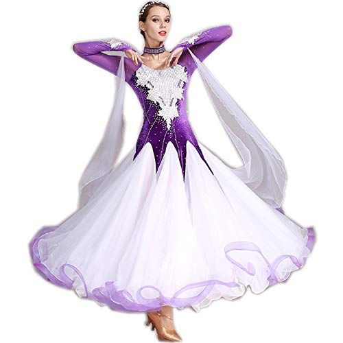 garuda 社交ダンス衣装 豪華ファッションデザイン競技用ドレス 新入荷 5色 B07NHY59K7 XL|パープル パープル XL