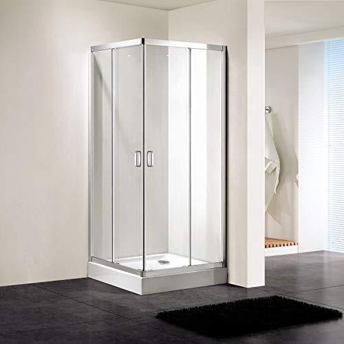 HOAEY Double Corner Toughen Glass Sliding Bathroom Shower Door (Size: 900x1950mm)