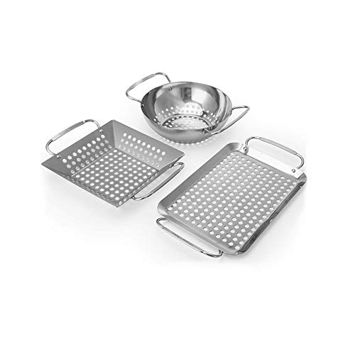 Grill Topper, Grill Accessories Set Heavy Duty Grill Basket Stainless Steel Grill Pan for Vegetable Charcoal Barbecue Grill Wok Cookware for Outdoor Grill Cooking