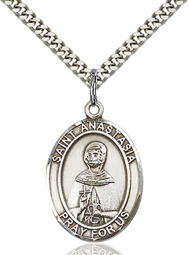 Sterling Silver Catholic Saint Anastasia Medal, 1 Inch