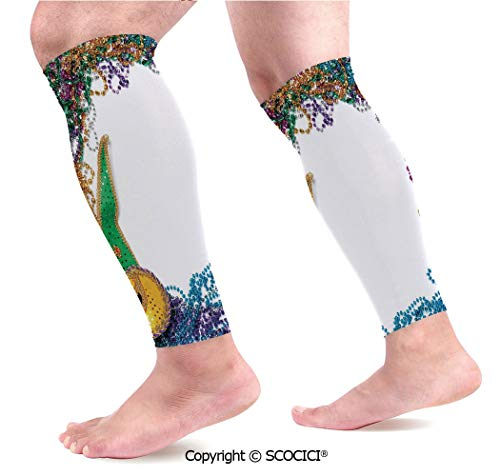 Flexible Breathable Comfortable Leg Skin Protector Sleeve Colorful Framework Design with Beads and Mask Fat Tuesday Holiday Theme Decorative Calf Compression Sleeve