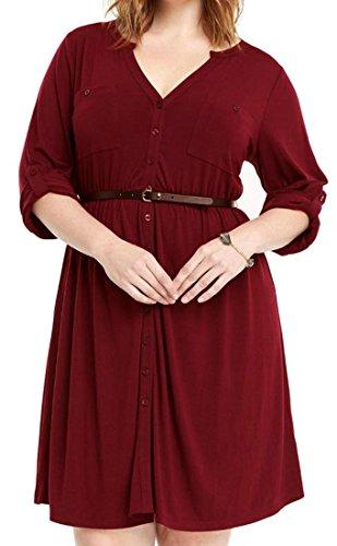 Plus Delle Vestito collo Cromoncent Casuale Tasto Donne Size Maniche Rosso V Rimboccarsi Zqr1ZwTnO
