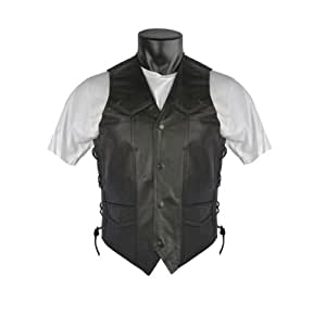 Braided Biker Leather Vest with Side Laces and Gun Pockets 48