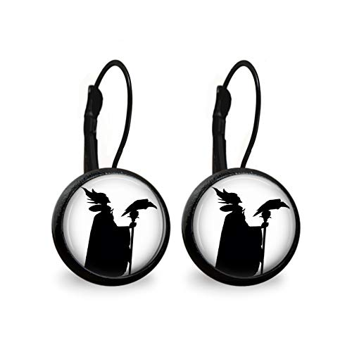 (Maleficent Silhouette Leverback Earrings- Black)