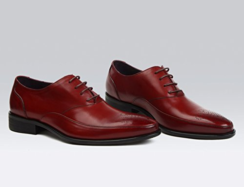 Herren Lederschuhe Herren Lederschuhe britischen Stil Business Formal Wear Spitze wies einzelne Schuhe Herrenschuhe ( Farbe : Weinrot , größe : EU43/UK8 ) Weinrot