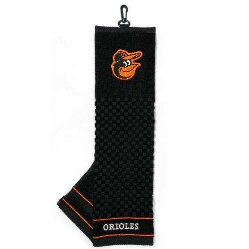 (Team Golf MLB Baltimore Orioles Embroidered Golf Towel, Checkered Scrubber Design, Embroidered)