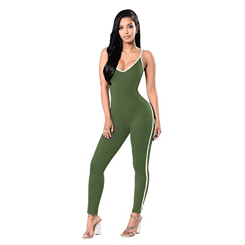 Dreamskull Women's Sexy Bodycon Catsuit Spaghetti Strapped Jumpsuit V Neckline Bodysuit One Piece Rompers,6 Colors Green