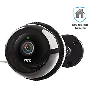 Case for Nest Cam for Outdoor / Camera Cases w/ Gooseneck Wall Mount for Dropcam Pro in Black by Dropcases - 100% Night Vision & Built-In Heat Sinks - IP 66 -