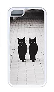 iPhone 5C Case, Personalized Custom Rubber TPU White Case for iphone 5C - Two Black Cats Cover