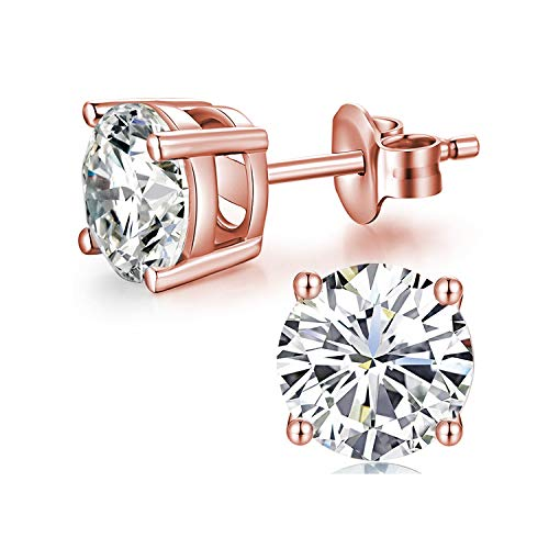 Sterling Silver Swarovski Crystal Stud Earrings Hypoallergenic Earrings for Women Crystal Simple Chic Studs Earring Rose Gold Plated 6mm