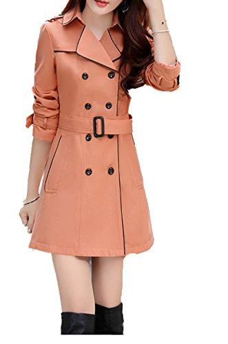 Blansdi Femme Revers Trench Manteau Slim Trench Jacket avec Ceinture de Taille Double Boutonnage Manteau Vetements d'exterieur Rose