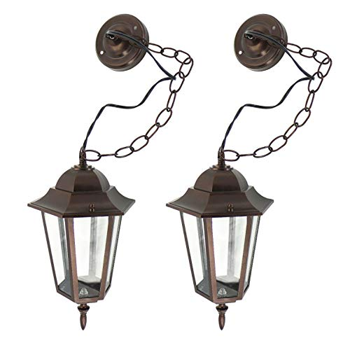 IN HOME 1-Light Outdoor Pendant Lantern L01 Series Traditional Design Bronze Finish Clear Glass Shade (2 Pack), ETL Listed ()