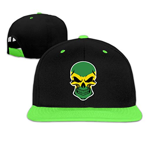 MAKS&&QA/1 Boys Girls Adjustable Curved Visor Hat Jamaica Flag Skull Hip Hop Hats for Under 13 Green -