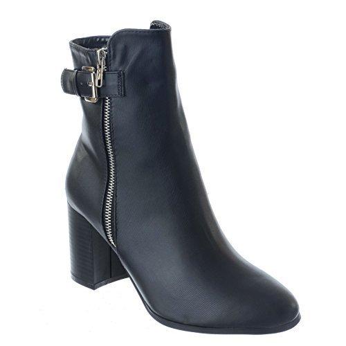 Mujer Caña sobre Talón Tacón Alto Botines PLATA Cremallera Grueso Hebilla Zapatos Talla Piel Sintética Negro