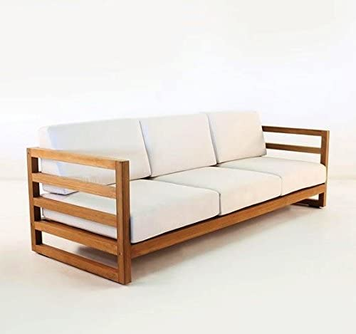 Casa Padrino Jardín 3 plazas sofá rústico Miami Crema Blanco/marrón 200 x 40 x H70 cm - Madera Maciza de Roble - Muebles de Madera sólida: Amazon.es: Hogar