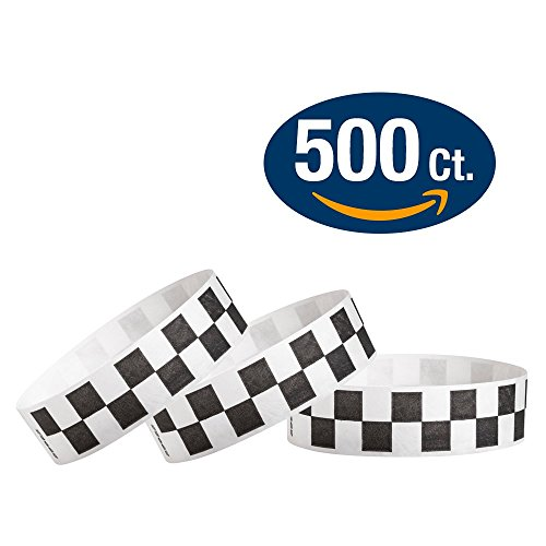 "WristCo Black Checkered / Checks 3/4"" Tyvek Wristbands - 500 Pack Paper Wristbands For Events"
