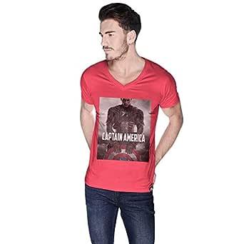 Creo Pink Cotton V Neck T-Shirt For Men