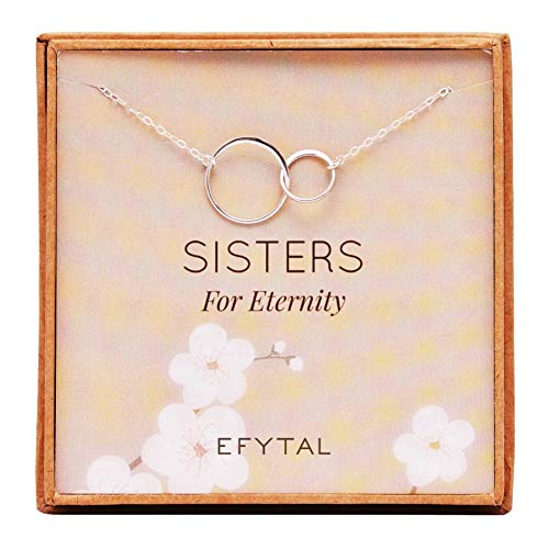 EFYTAL Sister Gifts from Sister, 925 Sterling Silver Double Circle Necklace, Birthday Jewelry Gift Necklaces for Sisters for Eternity -