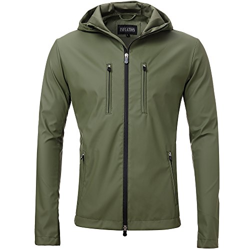 29373673bc9d3 FLY HAWK Mens Lightweight Short Waterproof Raincoat Outdoor Trench Coat  Army Green M by FLY HAWK