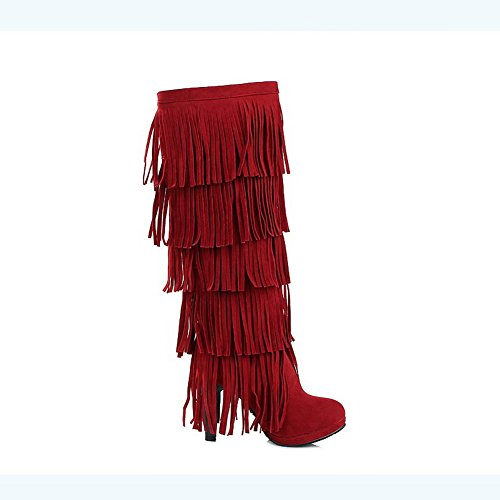 BalaMasa Womens High Heels Mid Calf Solid PU Fringed Boots Red LiIEk5k