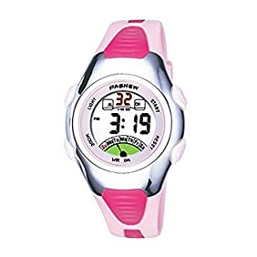Pasnew Fashion Waterproof Children Boys Girls Digital Sport Watch with Alarm, Chronograph, Date (Pink)