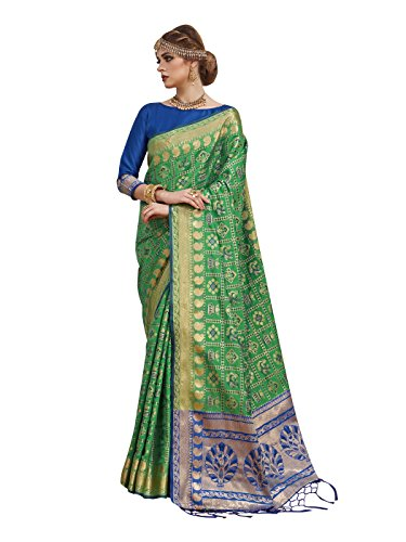 Wedding Ethnic Sarees Women Patola Art Silk Woven Work Saree,Sari (Green-3) ()