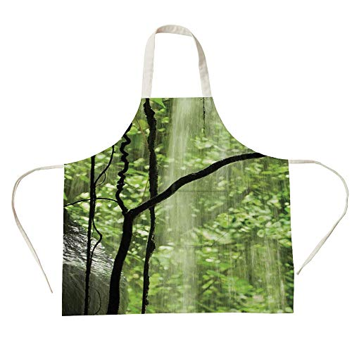 3D Printed Cotton Linen Big Pocket Apron,Rainforest Decorations,Jungle View with Waterfall Rocks and Trees Natural Beauty in Wild Atmosphere,Green Brown,for Cooking Baking Gardening ()
