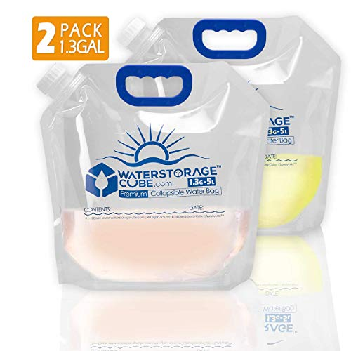 WaterStorageCube Premium Collapsible Water Container Bag, BPA Free Food Grade Clear Plastic Storage Jug for Camping Hiking Backpack Emergency, No-Leak Freezable Foldable Water Bottle 1.3 Gallon 2-Pack