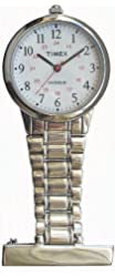 Timex Womens Classics Nurses Fob Tunic White INDIGLO Dial Stainless Steel Pin Watch T24601