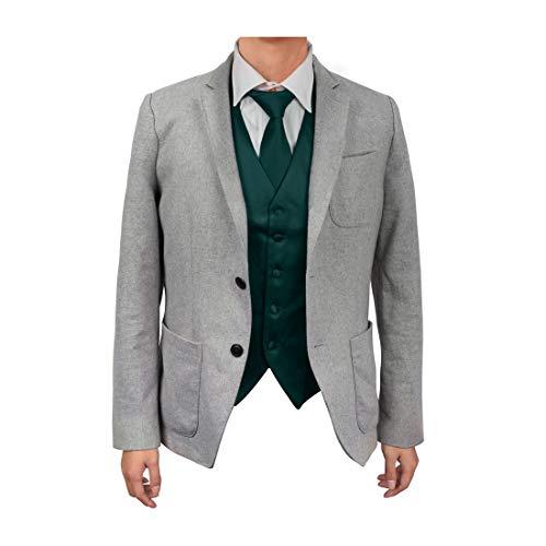 (Dan Smith DGDE0005-L Dark Green Find Vest Solid Microfiber Casual Waistcoat Satin For Business Vest Matching Neck Tie)