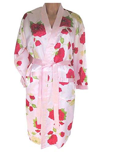 Edles Nachtwäsche-Set, Negligé + kurzer Kimono, rosa mit Blumenmuster
