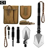 FiveJoy Military Folding Shovel Multitool (C1) - Portable Foldable Survival Tool - Entrenching Backpack Equipment for Hiking Camping Emergency Car - Bushcraft Gear : Shovels and Accessories Tools Kit