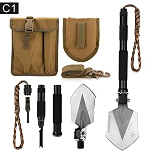 FiveJoy Military Folding Shovel Multitool (C1) – Portable Foldable Survival Tool – Entrenching Backpack Equipment for Hiking Camping Emergency Car – Bushcraft Gear: Shovels and Accessories Tools Kit