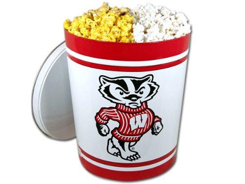Wisconsin Badger Gourmet Popcorn Tin - 3.5 Gallon, 3-Way Popcorn Mix ()