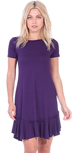 Popana Women's Casual Short Sleeve Knee Length Summer Midi Dress Made in USA - Eggplant (Knitted Ruffle Dress)