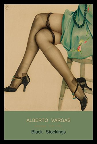 Framed Poster Lingerie (FRAMED Black Stockings Pin-Up Girl by Alberto Vargas 18x12 Art Print Poster Sexy Female Form Lingerie)
